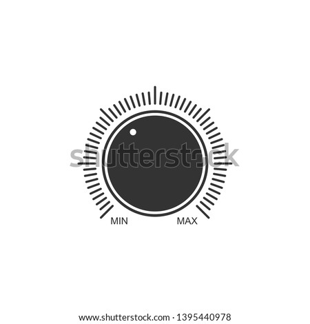 Dial knob level technology settings icon isolated. Volume button, sound control, music knob with number scale, analog regulator. Flat design. Vector Illustration Stock photo ©