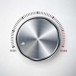 Dial Knob Vector. Global Swatches. Realistic Metal Button With Circular Processing And Shadow. Sound Level Dial Knob Controller. Illustration