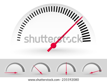 Dial, meter templates with red needle at 5 stages. Measurement, acceleration or generic level indicator. (eps 10 vector with transparency)