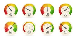 Dial speedometers, barometers logo set. Round scale, speed, weight, power, percentage indicators collection. Fuel, petrol gauge, car dashboard icon. Isolated business performance vector iillustration.