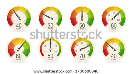 Dial speedometers, barometers logo set. Round scale, speed, weight, power, percentage indicators collection. Fuel, petrol gauge, car dashboard icon. Isolated business performance vector iillustration. ストックフォト ©