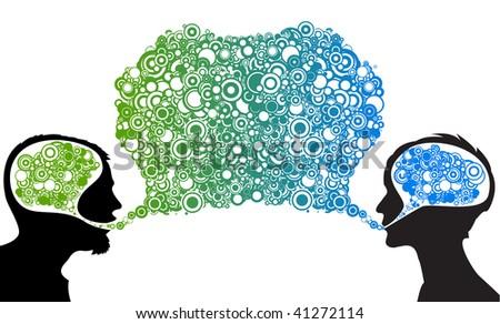 Dialog between man and woman - abstract vector illustration