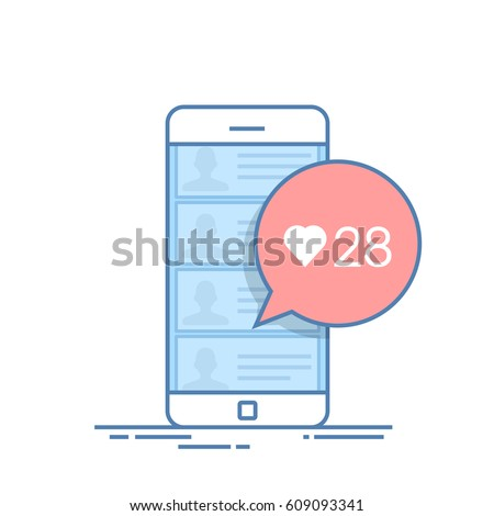 Dialog box in the mobile chat offering to evaluate the user message or news. Number of likes. Thin line vector illustration