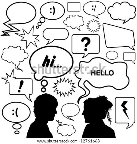 dialog bubbles great set vector
