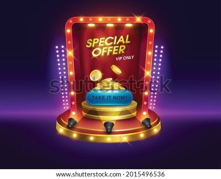 dialog casino slots games. Vegas slot vector illustration. game interfaces. podium special offer pop up with coins and button