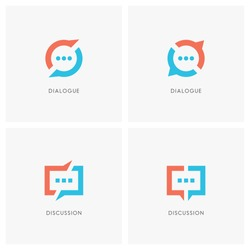 Dialogue and discussion logo set. Split chat symbol, two speakers have a conversation  - communication, business and teamwork icons.