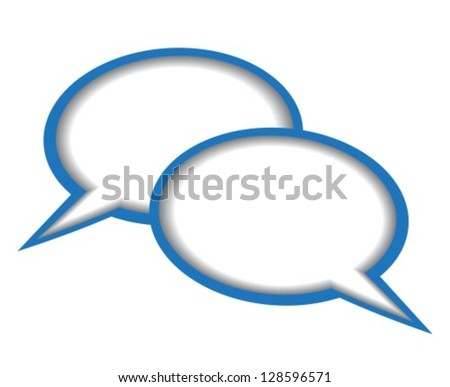 Dialogue bubbles with blue edges on white background