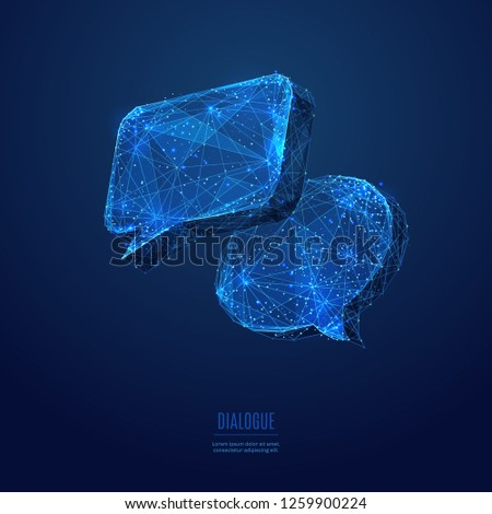 Dialogue clouds. Low-poly vector wireframe illustration in starry sky and cosmos style.  Technology and devices concept. Abstract Social Network or Chat theme in blue. Lines and points with polygons