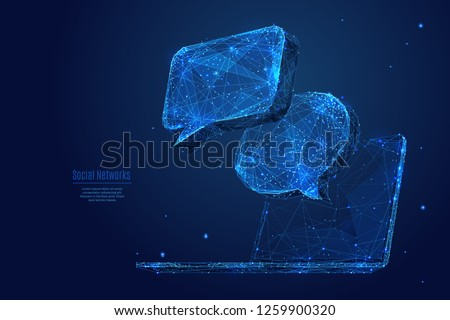 Dialogue clouds on laptop screen. Low-poly vector wireframe illustration in starry sky and cosmos style.  Digital Technology and devices concept. Abstract Social Network or Chat theme in blue color.  Сток-фото ©