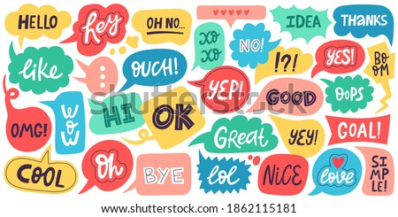 Dialogue speech bubbles. Chat balloons, small talk frames, conversation clouds with greeting phrases. Dialogue chat bubbles vector symbols. Thinking clouds or frames with messages for discussion