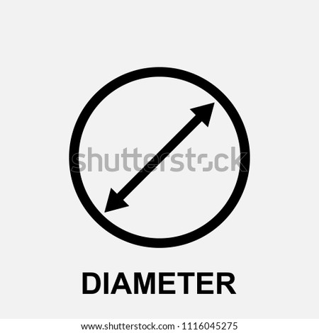 Diameter icon, flat isolated icon with diameter symbol and text, vector illustration.