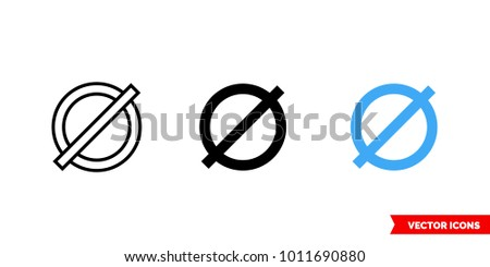 Diameter symbol icon of 3 types: color, black and white, outline. Isolated vector sign symbol.
