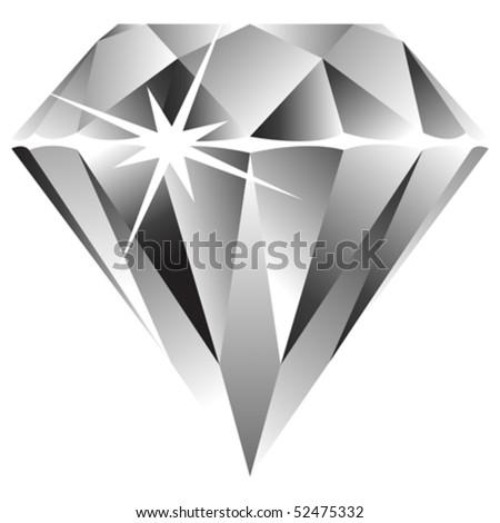 diamond against white background, abstract vector art illustration - stock vector