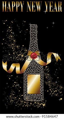 Diamond champagne bottle with gold ribbon in New Year celebration. Vector file available.