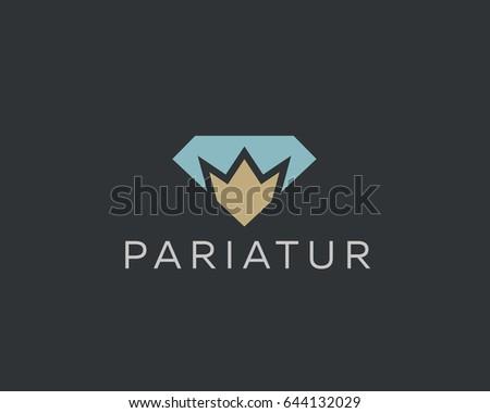 Diamond crown vector logotype. Gem king royal logo icon. Premium idea symbol