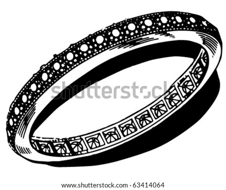 stock vector Diamond Engagement Ring Retro Clipart Illustration