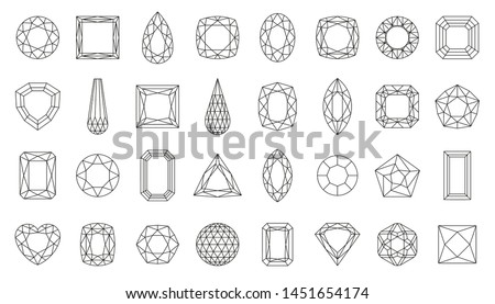 Diamond faceting thin line icon set. Gem collection of simple outline signs. Jewel symbol in linear style. Crystal, gemstone black contour icons design. Isolated on white concept vector Illustration