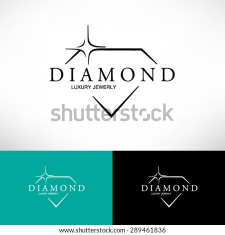 Diamond Icon in Flat Style. Logo Design.
