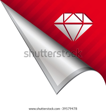 Diamond icon on vector peeled corner tab suitable for use in print, on websites, or in advertising materials.