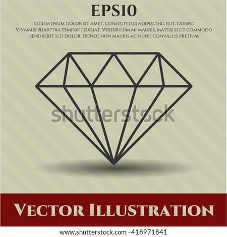 diamond icon vector symbol flat eps jpg app web concept website