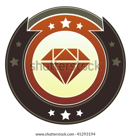 Diamond, jewelry, or anniversary icon on round red and brown imperial vector button with star accents