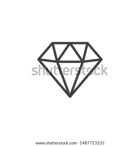 Diamond line icon. Gaming, precious crystal stone linear style sign for mobile concept and web design. Game diamond outline vector icon. Rich symbol, logo illustration. Vector graphics