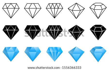 Diamond logo. Set of vector icons. Black, linear and color luxury symbols. Abstract jewelry gemstones isolated on white. Blue crystals. Various forms of diamond cut. Jewelry logo design.
