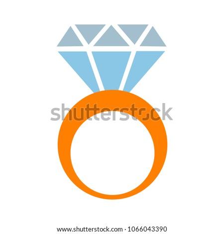 diamond Ring icon, vector engagement and wedding symbol - luxury gift illustration