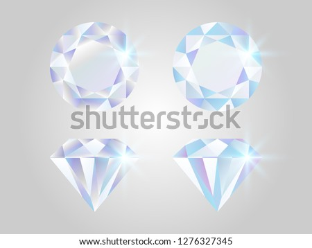 Diamond set. Realistic jewels isolated on white background. Shimmer stones top view. Luxury elements. Shining gemstones collection. Colorful gems concept. Shiny diamond design. Vector illustration.