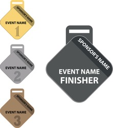 Diamond shape medals, for 1st, 2nd, 3rd and finisher.