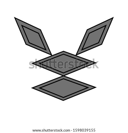 Diamond shaped hare. isolated on a white background. forms filled rhombus. rhombus