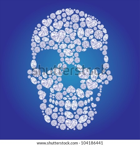 Diamond skull on blue background