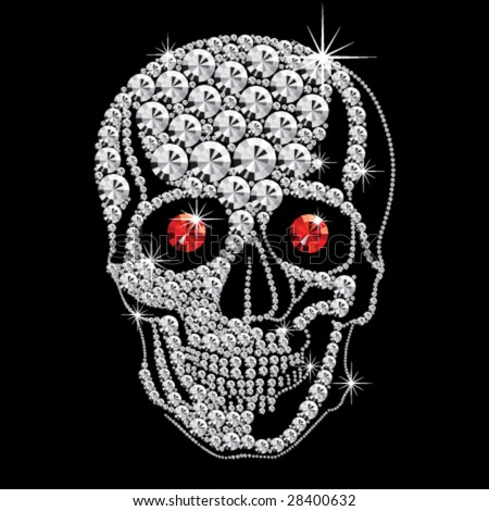 diamond skull with red ruby