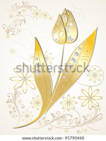 Diamond Tulip Ornamented - stock vector