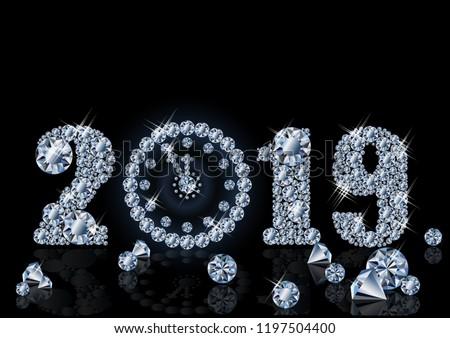 Diamond wallpaper with xmas clock, Happy New 2019 Year, vector illustration