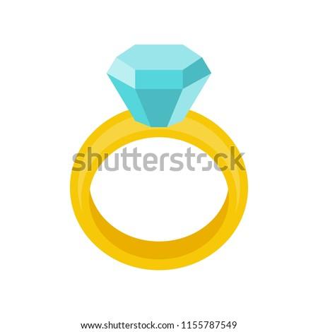 diamond wedding ring, jewelry related icon, flat design