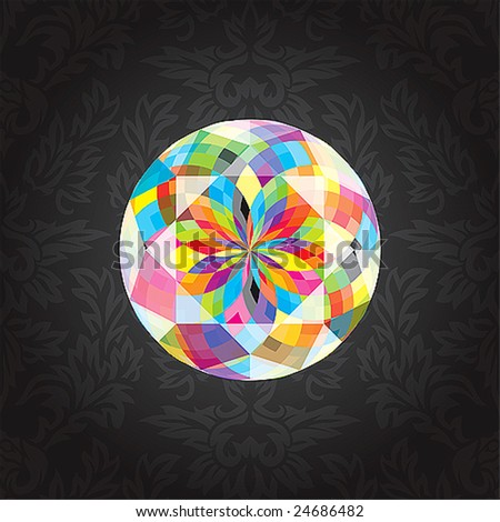 Diamond with colourful refraction of light.