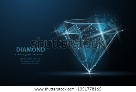 Diamond with crumbled edge on blue with dots and stars. Jewelry, gem, luxury and rich symbol, illustration or background