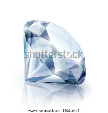 Diamond with reflection isolated on white - eps10
