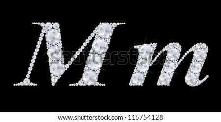 M Letter In Black Diamonds on black  letter M