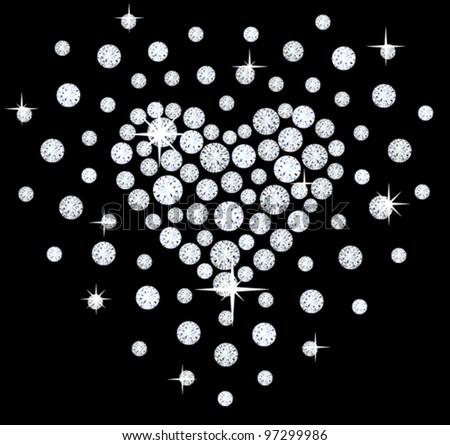 diamonds heart  background - stock vector