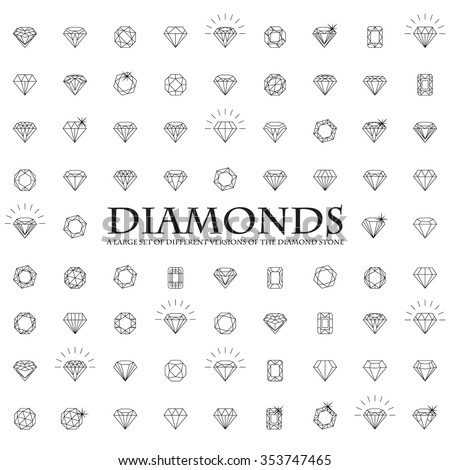 Diamonds Icons set, design element, symbol of the success of wealth and fame