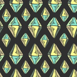 Diamonds on green background. Seamless vector pattern with diamonds. Multicolored crystals.Texture for textile, wrapping paper, cover, background, wallpaper.