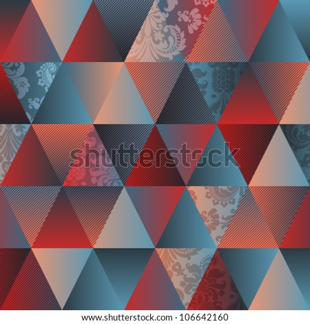 Diamonds seamless triangle abstract pattern. Vector illustration