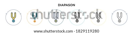 Diapason icon in filled, thin line, outline and stroke style. Vector illustration of two colored and black diapason vector icons designs can be used for mobile, ui, web Foto stock ©
