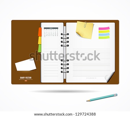 diary note book and notepad