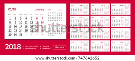 diary vector 2018 12 months