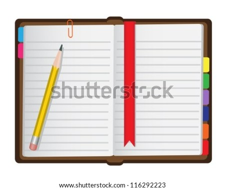 diary with a bookmark, just a pencil and paper clips on a white background