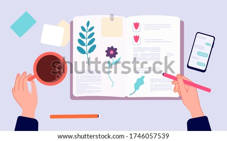 Diary writing. Person drawing in sketchbook. Top view hands with pen and coffee cup. Morning evening relax, memories making vector illustration Сток-фото ©