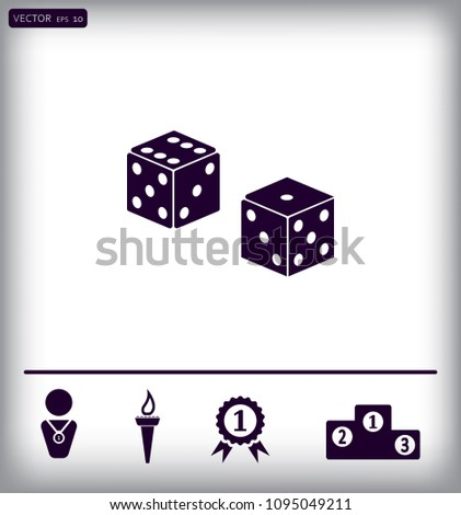 Dice Cubes for the game vector icon.
